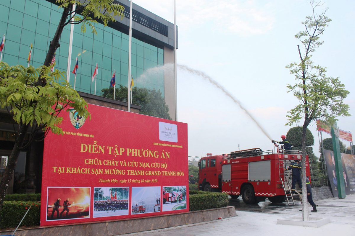 Mường Thanh Grand Thanh Hóa diễn tập Phòng cháy Chữa cháy