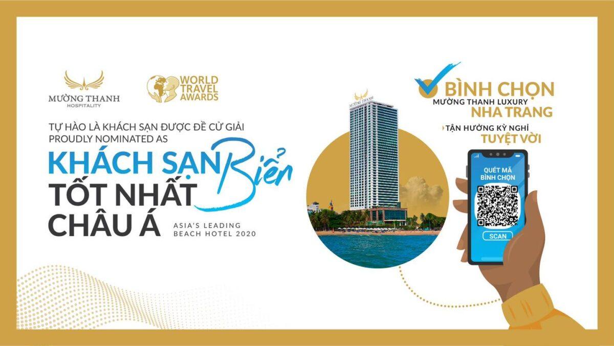 """Mường Thanh Luxury Nha Trang được WTA đề cử giải thưởng """"Khách sạn Biển tốt nhất Châu Á 2020"""""""