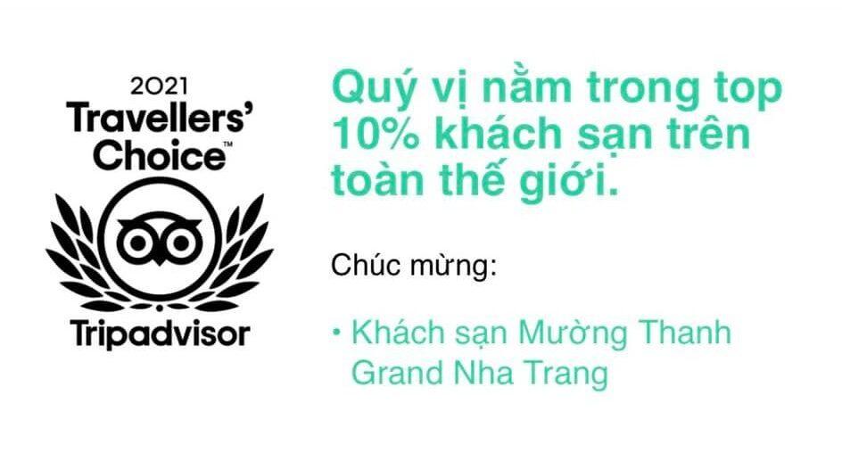 Năm khách sạn trực thuộc Mường Thanh giành giải thưởng Traveller's Choice 2021